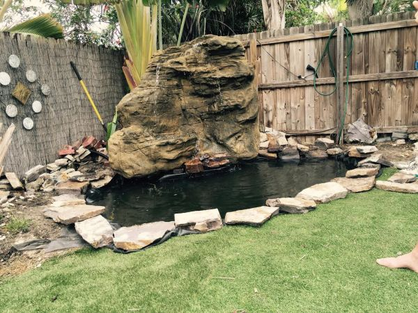 Large Vertical Backyard Waterfalls by John