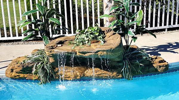 Maldive Swimming Pool Waterfalls Kit installed by Landscapes by Noel